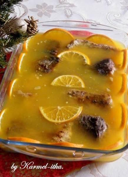 Karp w galarecie pomarańczowej. Życzenia świąteczne.