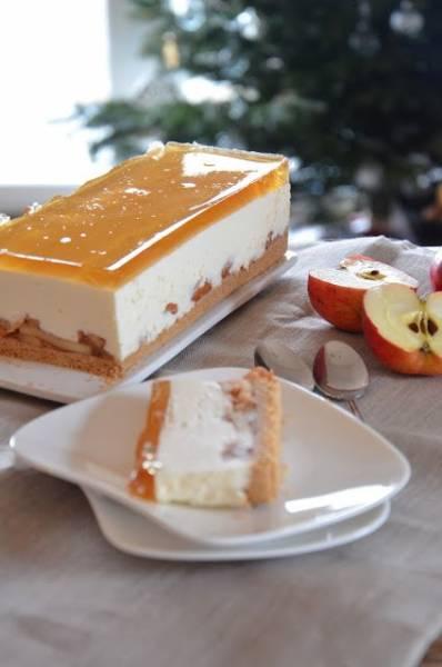 Sernik na zimno z prażonymi jabłkami | recenzja Lekue Dark Crystal Duo forma prostokątna- keksówka