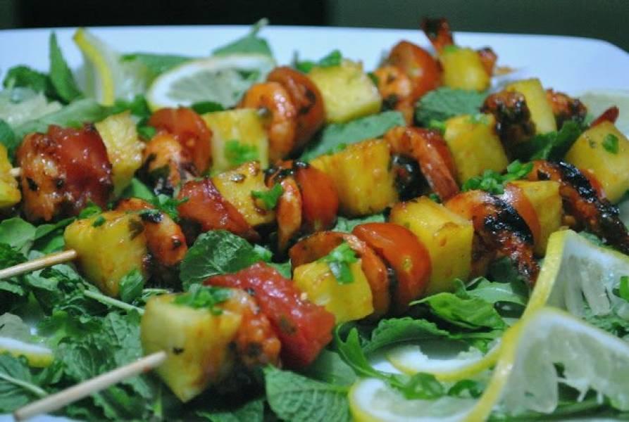 Szaszłyki pina colada: z krewetkami i ananasem :)