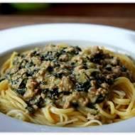 Spaghetti con spinaci.