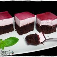 Ciasto kawowo-czekoladowe z wiśniową pianką i galaretką