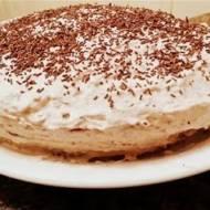 Tort z budyniem i masą serowo-czekoladową