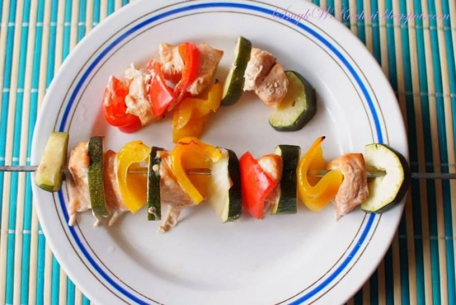 Szaszłyki warzywne z łososiem, CYKL DIETA NISKOKALORYCZNA