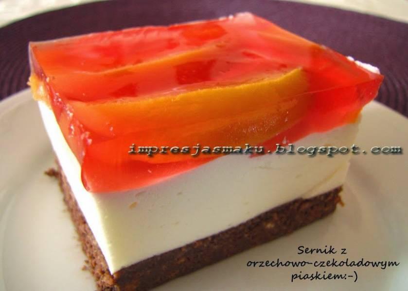 Sernik na zimno z orzechowo-czekoladowym spodem (sernik z piaskiem:-))
