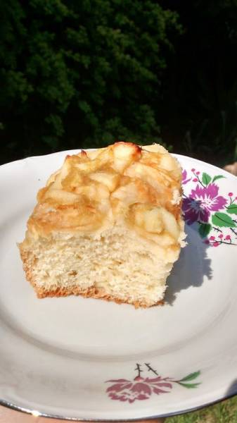 Ciasto drożdżowe z rabarbarem i jabłkami