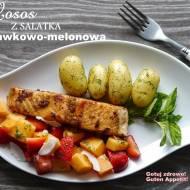 Grillowany łosoś z sałatką truskawkowo-melonową