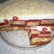 Ciasto z masą truskawkową i śmietanową