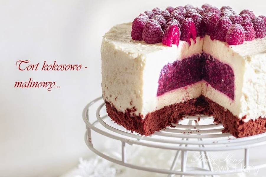 SERNIKOWY TORT KOKOSOWO-MALINOWY