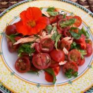 Sałatka z wędzonym łososiem i pomidorkami