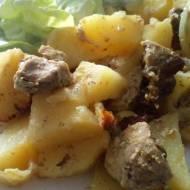 Zapiekane ziemniaki z wieprzowiną i musztardą