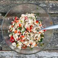 Sałatka z ryżu z wędliną. / Rice salad with ham.