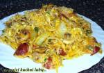 makaron nitki z solą rozmarynową,jajkami,kiełbasą,pieczarkami na szybki obiad...