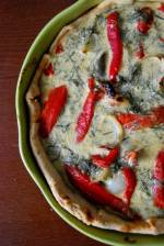 Tarta z grillowaną papryką, bakłażanem i cebulą