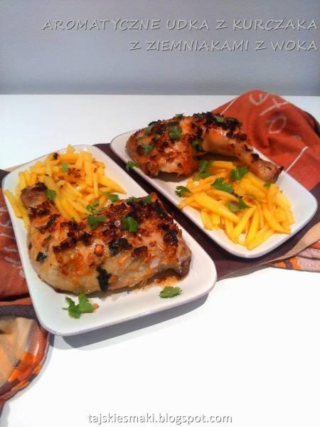 Aromatyczne udka kurczaka (Gai Yang) i ziemniaki z woka