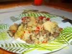 Warzywno-mięsne danie z patelni