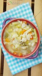 Zupa jarzynowa z brukselką, fasolką szparagową i kalafiorem