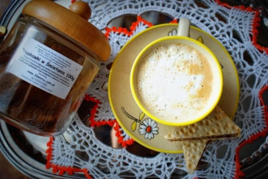 Truskawki w śmietanie- kawa od Skworcu