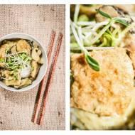 Pasta curry i curry z tofu i pachnącymi grzybami