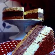 Sernik czekoladowy i mus z białej czekolady