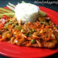 Kotlety Schabowe Inaczej wersja z warzywami z ryżem basmati ze szczypiorkiem