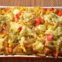 Zapiekanka makaronowa z kurczakiem, papryką, kukurydzą
