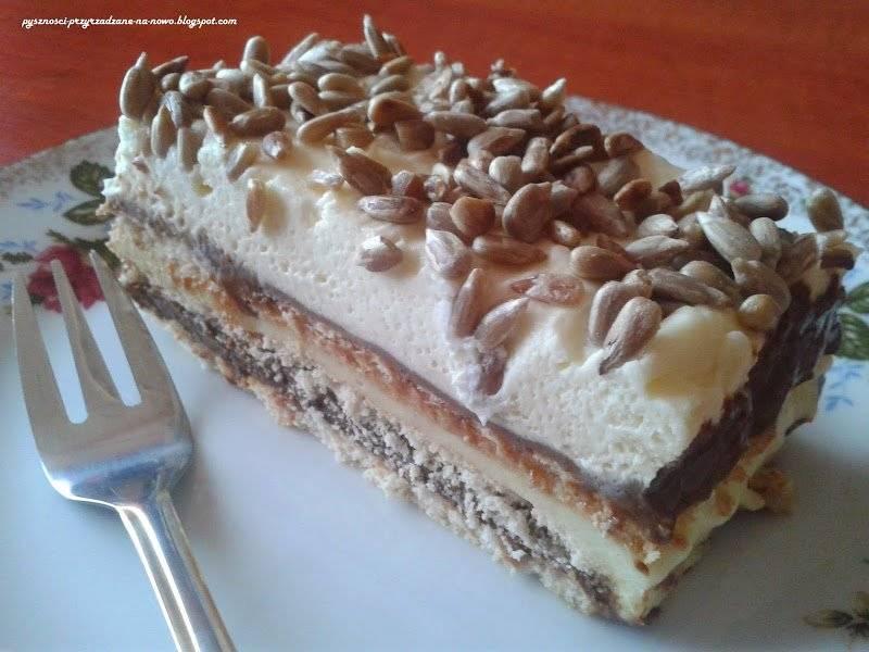 Ciasto bez pieczenia z masą krówkową o smaku kakaowym