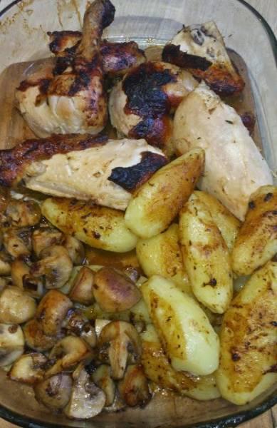 Przepis Na Kurczak Pieczony Z Pieczarkami Slodkimi Ziemniakami I