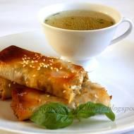 Ciasto filo z grzybami, papryką i serem feta
