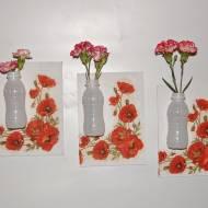 COŚ Z NICZEGO - Ścianka kwiatowa z buteleczek po jogurtach - KROK PO KROKU