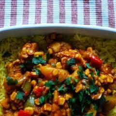 paprykowy kurczak na ryżu