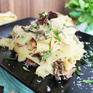 Pappardelle with bacon and dried muschrooms