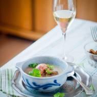Zupa pieczarkowa z klopsikami z indyka.