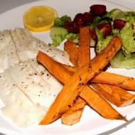Filet z halibuta z frytkami z batata
