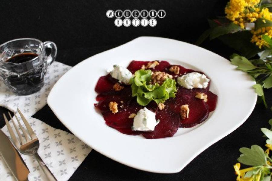 Roasted beetroot carpaccio with goat cheese