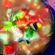 Hiszpańska zupa z wołowiną na winie