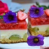 Cienki biszkopt , budyniowa masa z kawałkami winogrona oraz mus truskawkowy. Takie ciasta najbardziej lubię , nie przesłodzone i