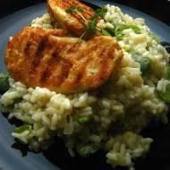 Tymiankowe risotto z bobem i grillowanym kurczakiem.