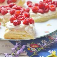 Ciastka francuskie z kremem tiramisu i malinami