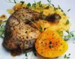 Kurczak ( gotowany) z brzoskwiniami i pieprzem