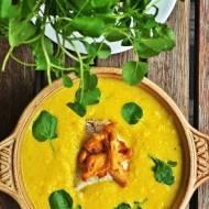 Zupa krem z kukurydzy z kurkami, sandaczem i rukwią wodną