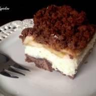 Kruche ciasto czekoladowo - kokosowe z jabłkami