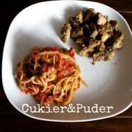 Kurczak w marynacie miodowo - musztardowej z spaghetti cukinowym w sosie pomidorowym