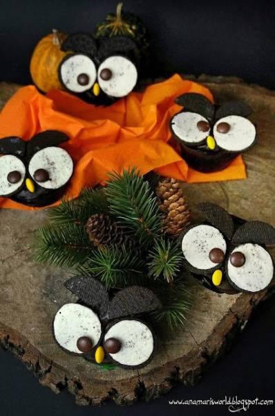 Halloweenowe sowy - muffiny marchewkowe