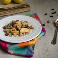 Breakfast quinoa with caramelised pears and almonds.
