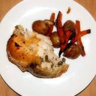 Kurczak pieczony na piwie z warzywami