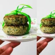 Wegańskie szpinak-burgery z czosnkiem i szczypiorkiem