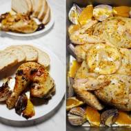Kurczak zagrodowy pieczony na płasko, z masłem czosnkowym i pomarańczami