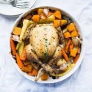 Kurczak pieczony z warzywami.