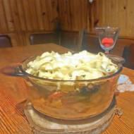 zapiekanka z brokułami .paprykami oraz kurczakiem