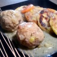 Pulpeciki z indyka w sosie koperkowym + ziemniaczane scones
